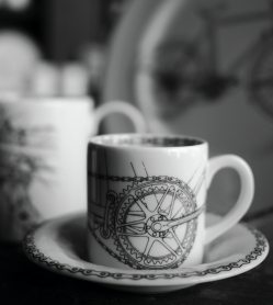 Black and white bicycle espresso